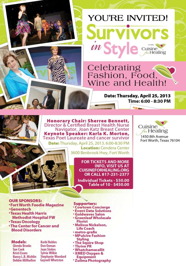 Come join us! A great night of culinary delights and fashion! My modeling debut!